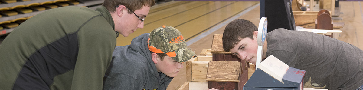student viewing a wood working project