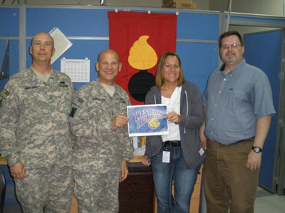 From Left to Right: MAJ Tim Sanders '02, CW4 Michael Carpentieri '95, Ms. Stephanie Hoover '04, Mr. Shawn McGee '02 & '03