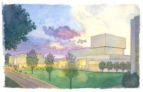 Performing Arts Center Watercolor north view