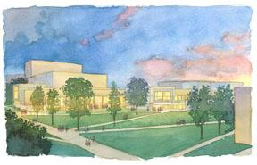 Performing Arts Center Watercolor south view