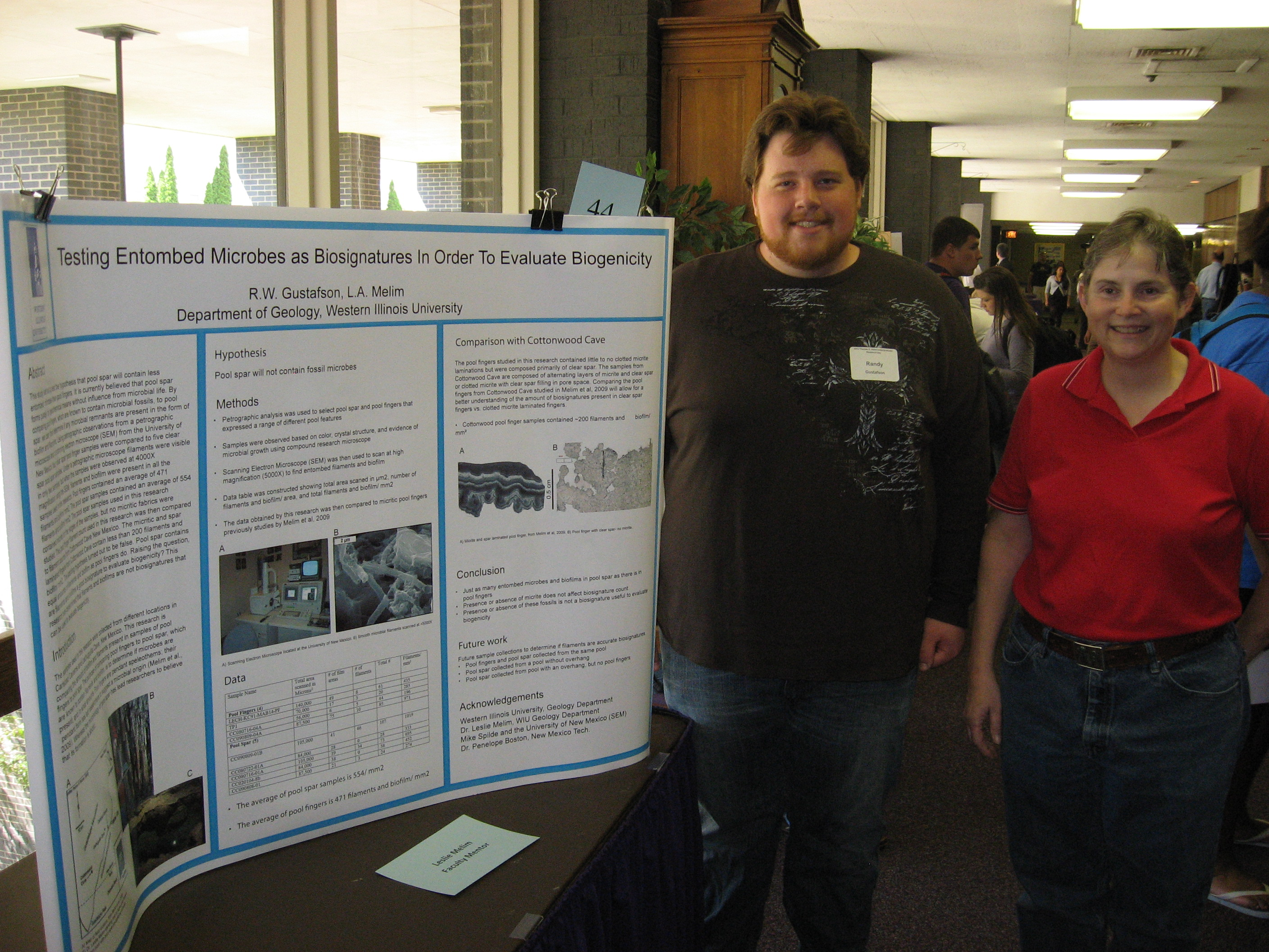 Randy Gustafson, Leslie Melim and poster