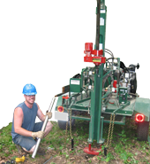 Student drilling groundwater well at the Post Sanctuary