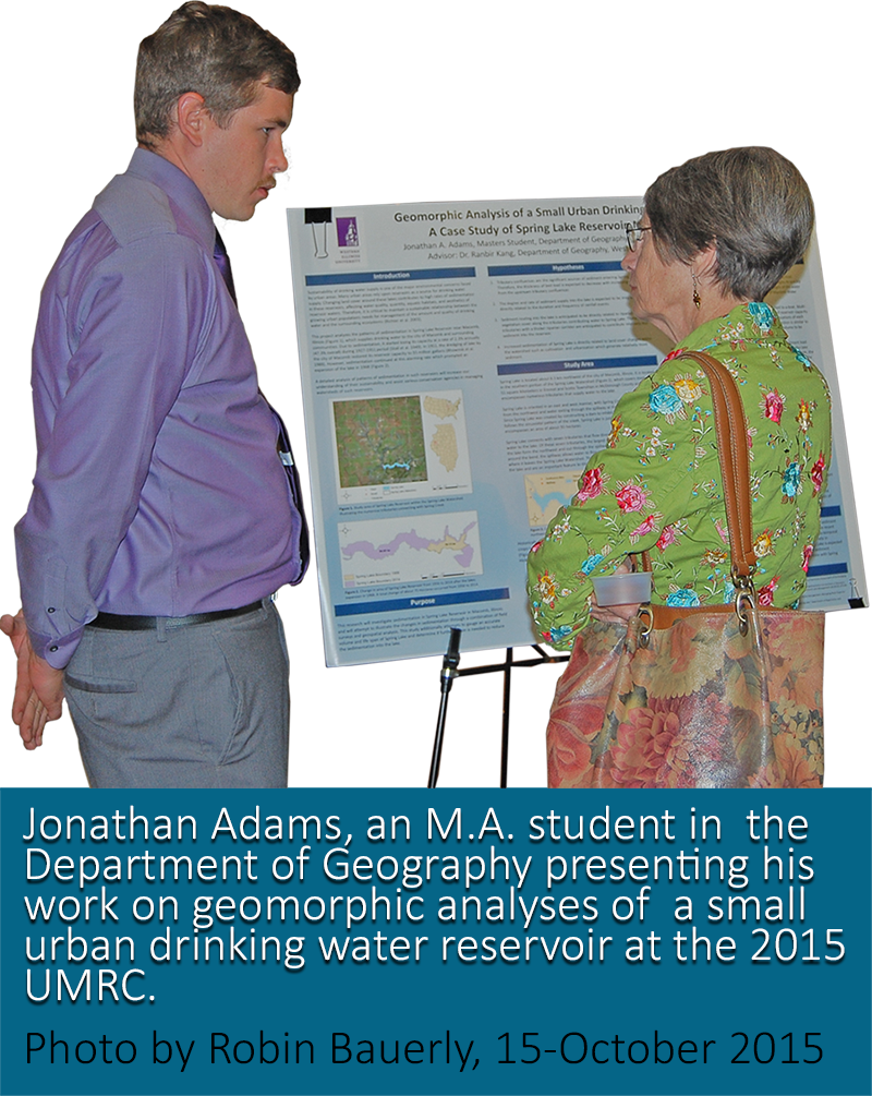 Johnathan Adams, a Geography graduate student presenting his work at the 2015 UMRC
