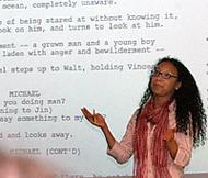 Macer lectures before an example of a script.