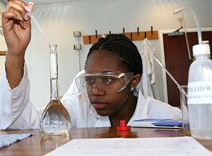 Nursing student working in chemistry lab