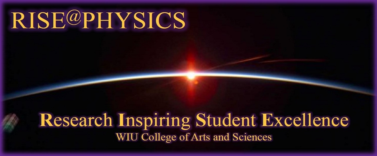 Logo of the Research Inspiring Student Excellence (RISE) program of the Physics Department, College of Arts and Sciences, WIU.