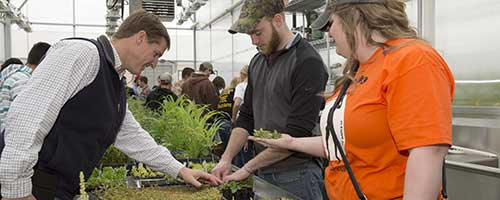 students with faculty member in the greenhouse