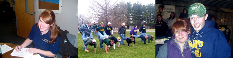 wheel barrow race, ffa student, pie eating