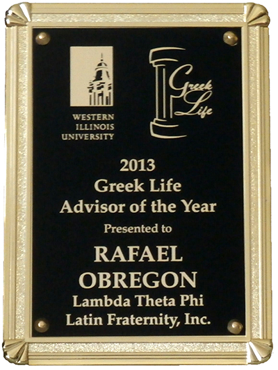 Greek Life plaque presented to Rafael Obregon
