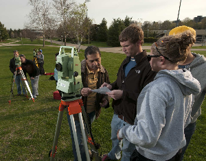 students surveying