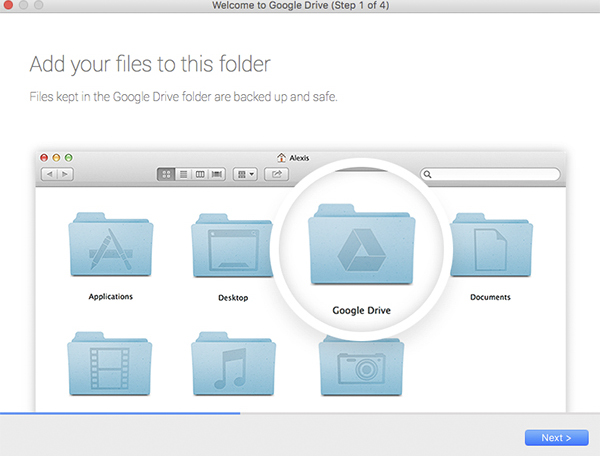 Add files to your Google Drive folder