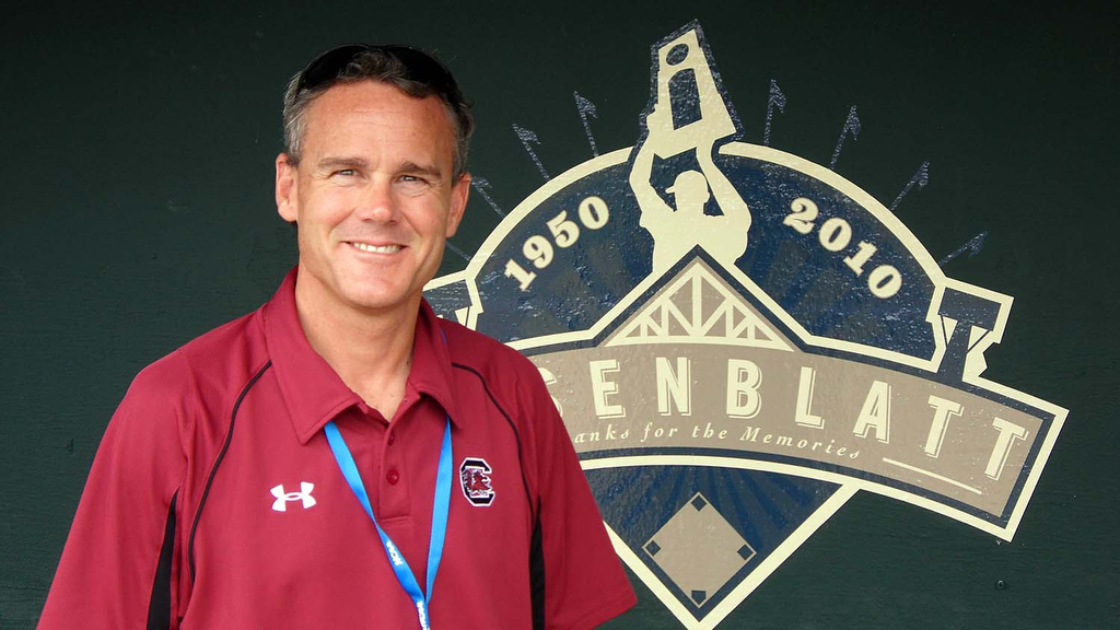 Steve Fink at Rosenblatt Stadium for the 2010 NCAA baseball championships