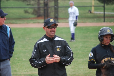 Wichita State Head Softball Coach Mike Perniciaro ('95) coaching against Western Illinois in Macomb.