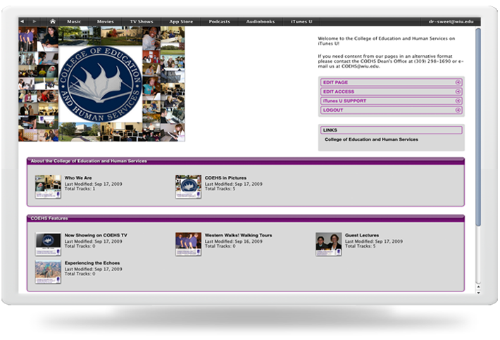 Image of iTunes U Interface