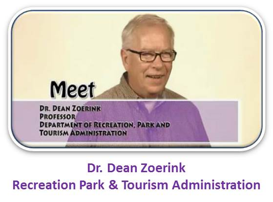 Dr. Dean Zoerink, Recreation, Park and Tourism Administration