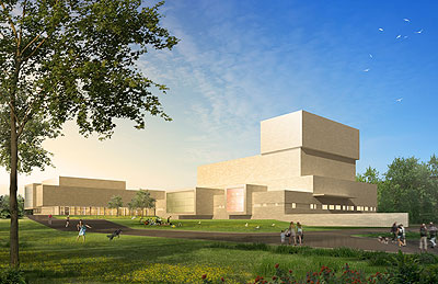 Architectual Rendering of Performing Arts Center from North East.