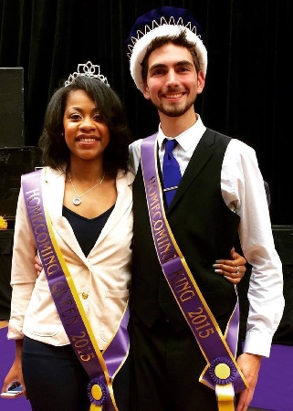 Western Illinois University students Rasheka Norwood (left) and Cameron Anderson were named the Homecoming 2015 king and queen during the annual Yell Like Hell event in Western Hall Thursday night.