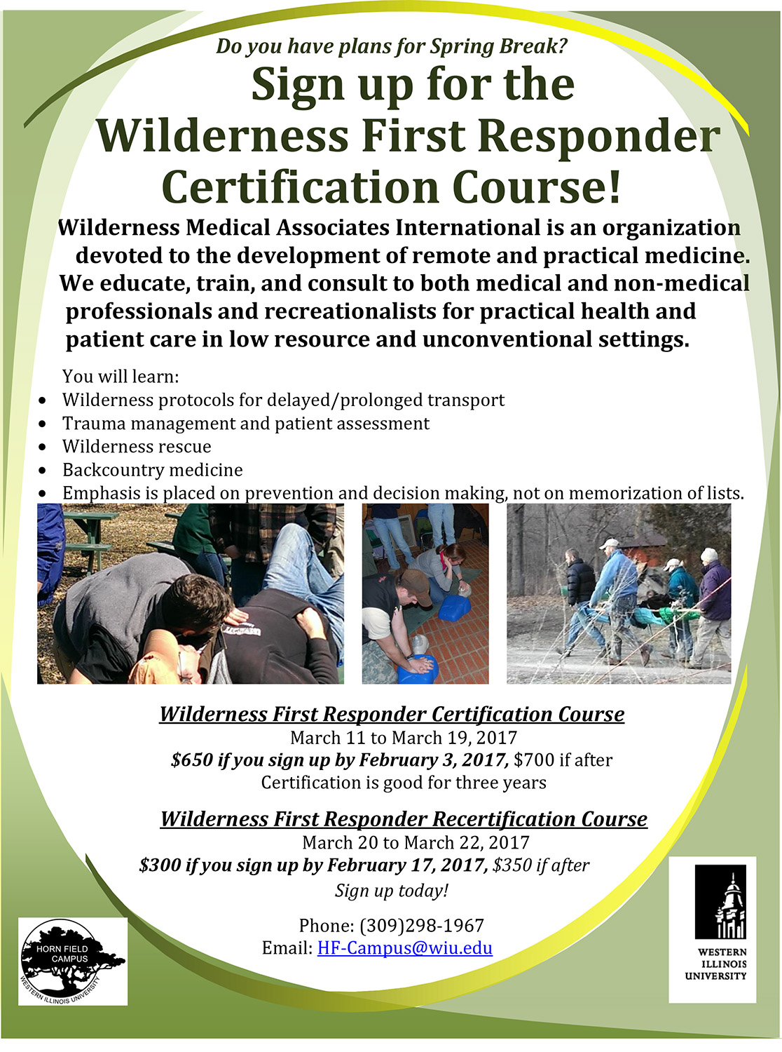 Wilderness First Responder Courses Scheduled For March At Horn Field