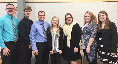WIU students who competed in the Illinois State Post-Secondary Agriculture Student Organization (PAS) conference Feb. 10 in Bloomington include, from left, Logan Runyen, Brandon Livingiston, Martin Nall, Morgan Lemley, Cori Sargent, Mariana Roberts and Kylee Johnston.