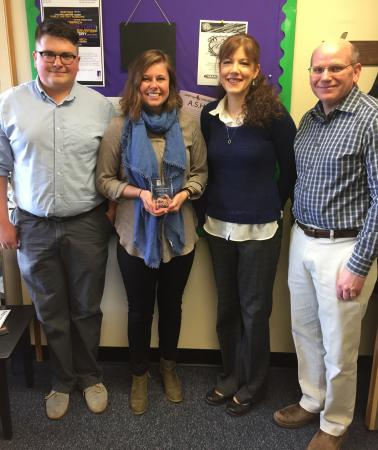 Pictured, from left, are Harrison Schulte (nominator/student), Allison Ramsey, History Department Chair Jennifer McNabb (nominator) and College of Arts and Sciences Associate Dean Kyle Mayborn.