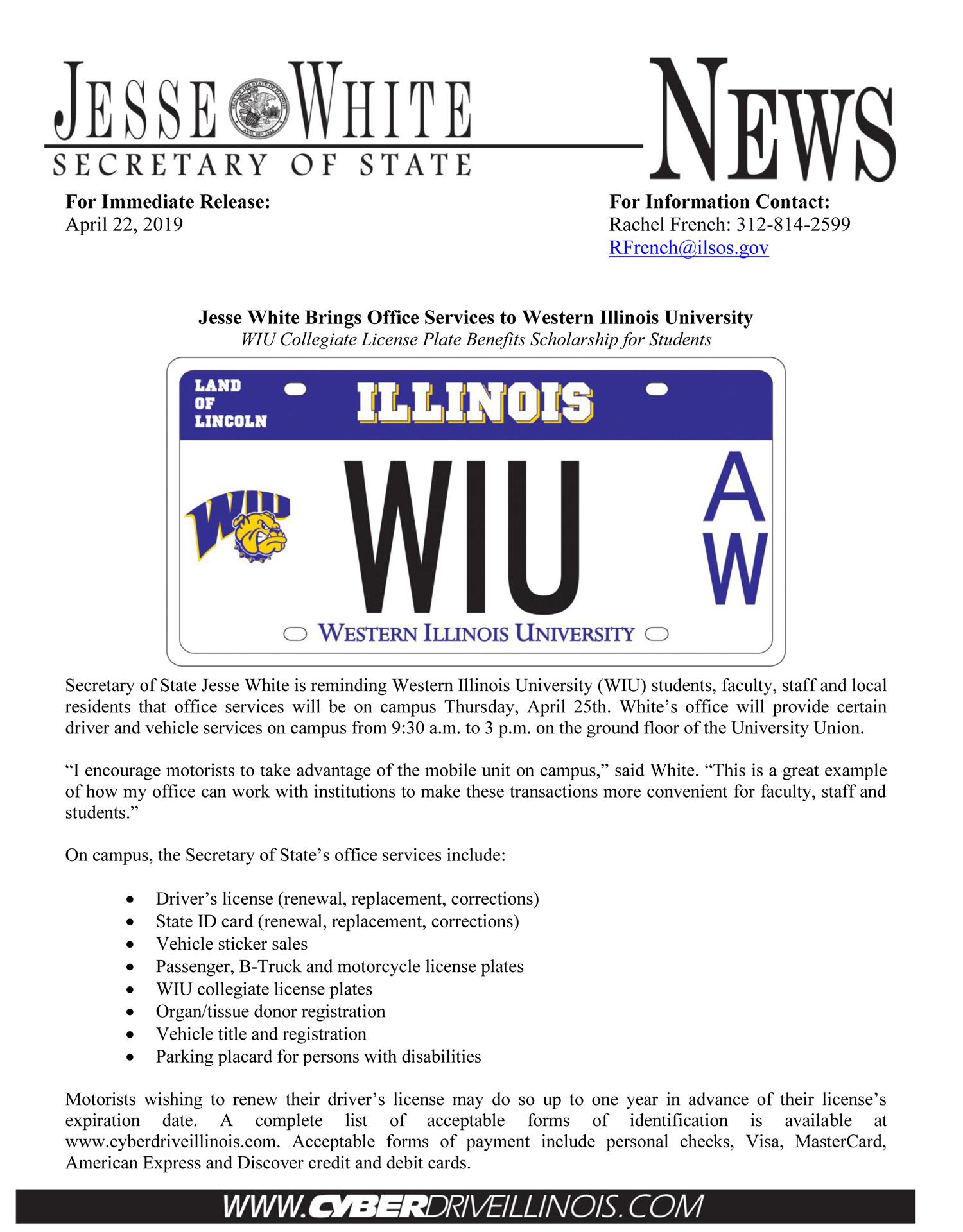 Illinois Secretary of State Services Come to WIU April 25
