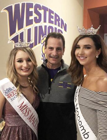 WIU Interim President Martin Abraham with Miss Teen Macomb Isabelle Lee and WIU Psychology Major and the 2020 Miss Macomb Paige Olin