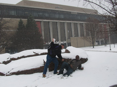A snowball fight behind Stipes Hall!