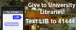 Picture of library atrium with phone graphic and text about how to send an SMS text message to donate to the library.