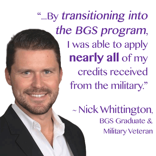 BGS Graduate and Military Veteran Nick Whittington.