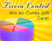 Photo of a Trivial Pursuit game piece with the text Trivia Contest, win an iTunes gift card!