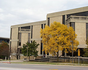 Photo of the Malpass Library in the fall.