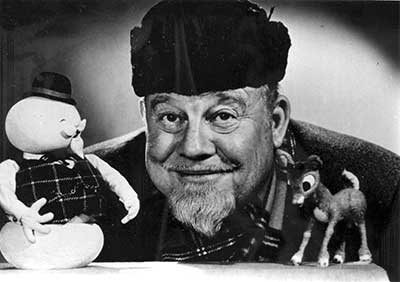 Black and white photo of Burl Ives.