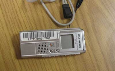Photo of a digital voice recorder.