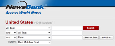 A screenshot of Access World News search area