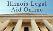 Photo of court building and the text Illinois Legal Aid Online