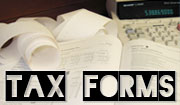 Image of tax forms a calculator and a pencil with the text Tax Forms