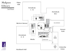 Illustration of the Malpass Library 3rd floor - floor plan