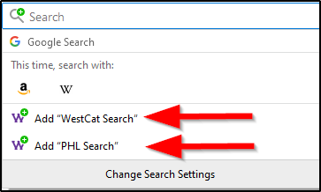 screen shot of adding WestCat Catalog search engine to Firefox