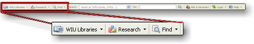 Close-up screenshot of the toolbar's Library, Research and Find buttons.