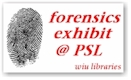 Illustration of a finger print with the text Forensics exhibit at PSL