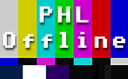 Image of a televisions text screen with the text PHL Offline.