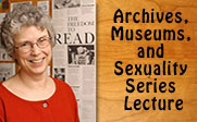Picture of Dr. Jenkins with the text Archives, Museums, and Sexuality Series Lecture