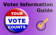 Voter Information Guide with an image of a red white and blue button that says Your Vote Counts.