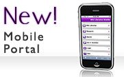 Image of an iPhone with the text New! Mobile Portal