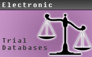 Illustration of a scale with the text Electronic Trial Databases