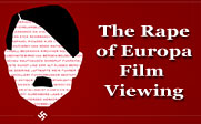 Stylized illustration of Hitler's face with text of famous artist's names filling in the shape of the face and the text The Rape of Europa Film Viewing.