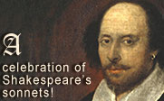 "Painting of William Shakespeare with the text ""A celebration of Shakespeare's sonnets!"""