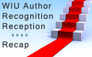 Illustration of a red carpet going up some stairs with the text WIU Author Recognition Reception Recap