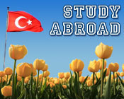 Image of the Turkey flag and tulips with the text Study Abroad