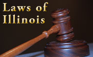 Photo of a gavel with the text Laws of Illinois